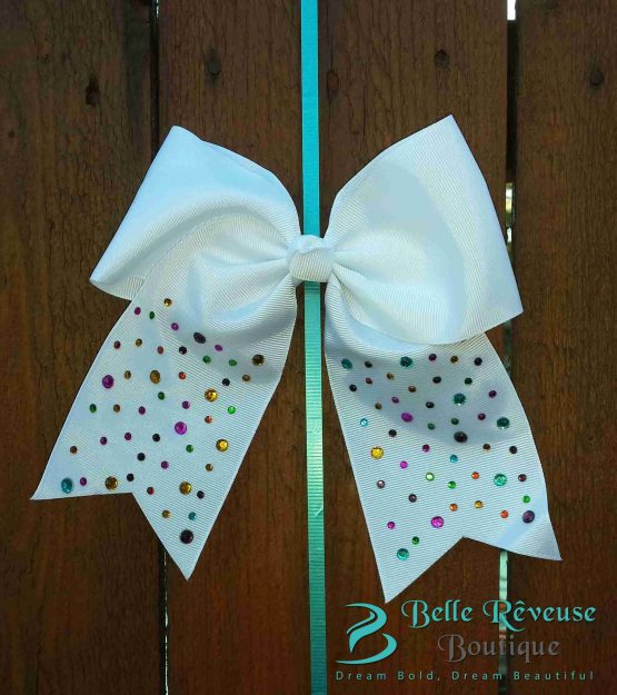 Oversized Bows for Hair - White Gem