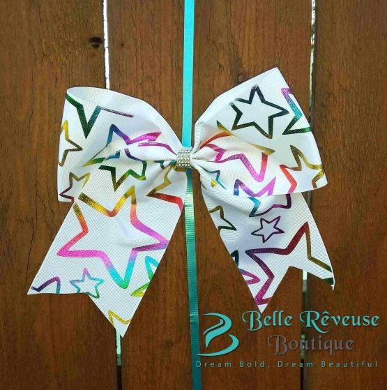 Oversized Bows for Hair - White Holographic Star