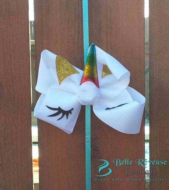 Oversized Bows for Hair - White Unicorn Face