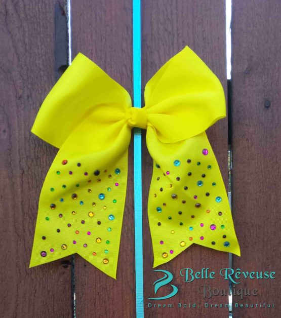 Oversized Bows for Hair - Yellow Gem