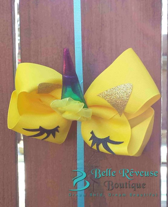 Oversized Bows for Hair - Yellow Unicorn Face