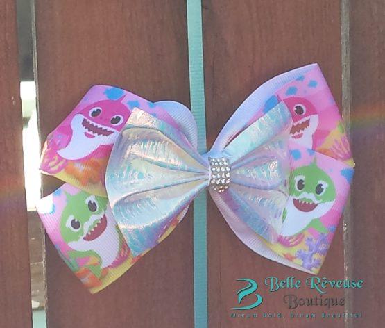 Pink Ocean Baby Shark Hair Bow