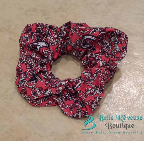 Red Paisley Print Scrunchie
