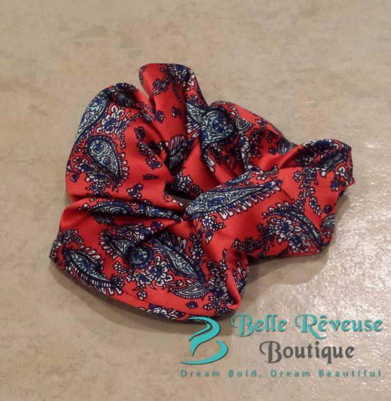 Red Silk Paisley Print Scrunchie