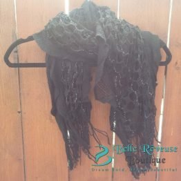 Scarf For Fall - Black Ruffle Scarf