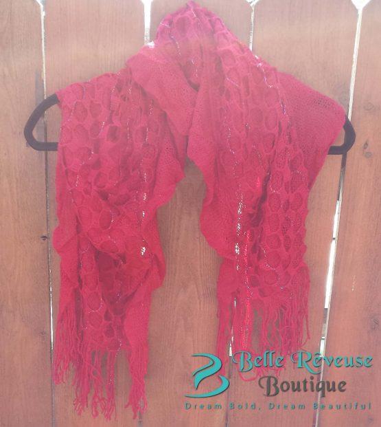 Scarf For Fall - Dark Red Ruffle Scarf