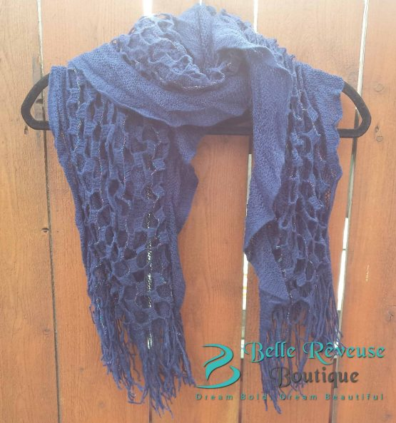 Scarf For Fall - Navy Blue Ruffle Scarf