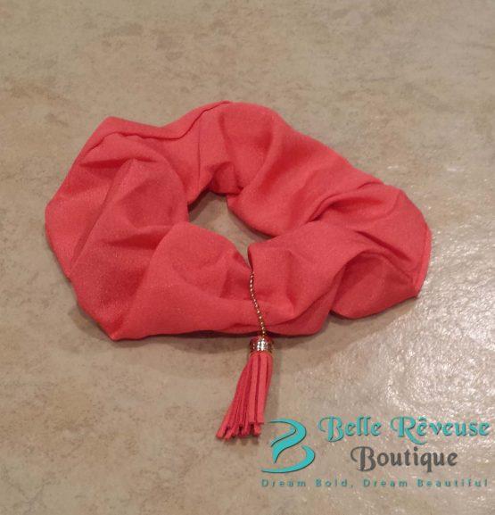 Scrunchies Hair Ties - Peach Tassel Scrunchie