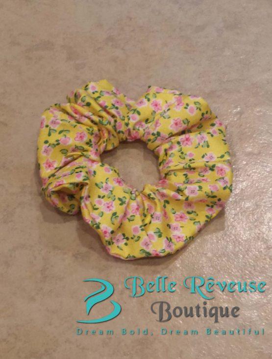 Yellow Floral Print Scrunchie