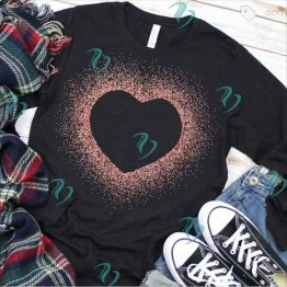 Glitter Heart Graphic Shirt on Black