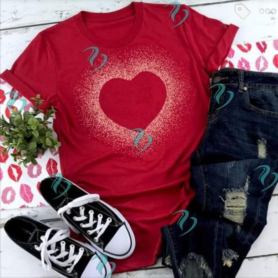 Glitter Heart Graphic Shirt on Red