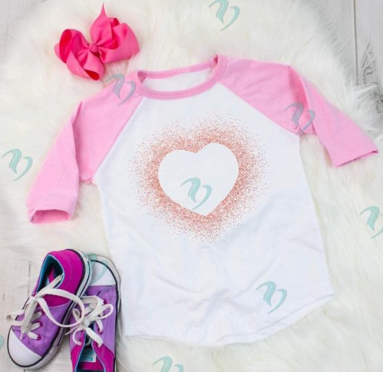 Glitter Heart Graphic Shirt Youth Raglan