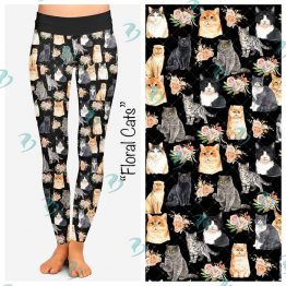 Flower and Cat Print Leggings