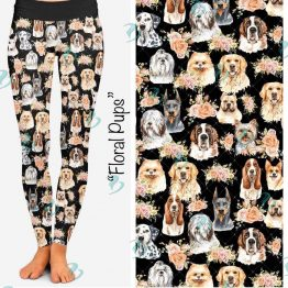 Floral Pups Leggings