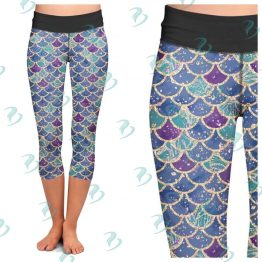 Blue Mermaid Scale Leggings
