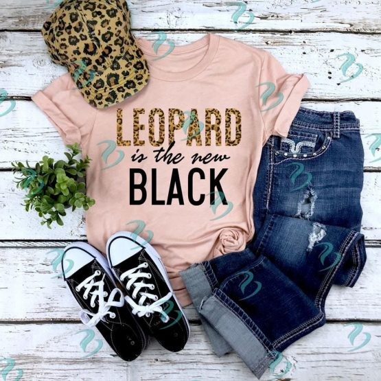 Leopard is the New Black Graphic Shirt Peach