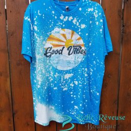 Good Vibes Distressed Graphic Shirt Hanging