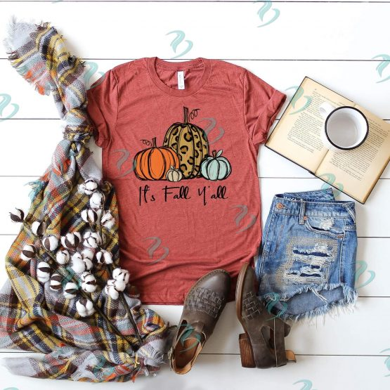 Its Fall Yall Graphic Shirt Rust Color