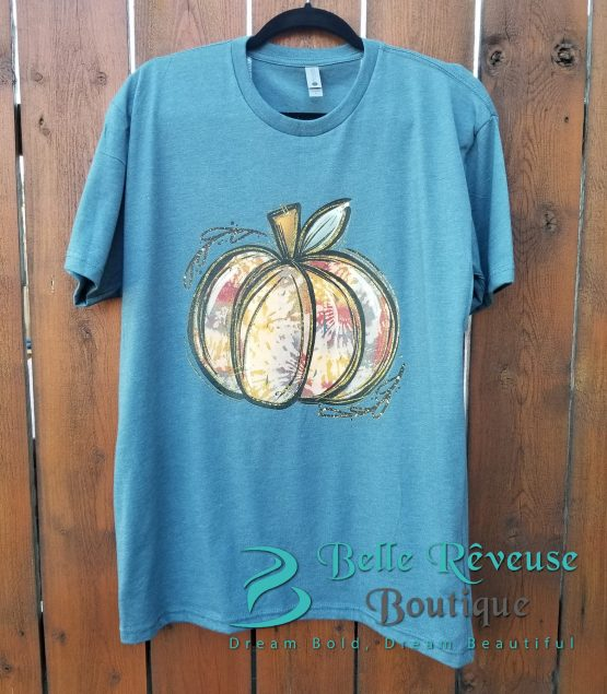 Tie Dye Pumpkin Graphic Shirt Blue