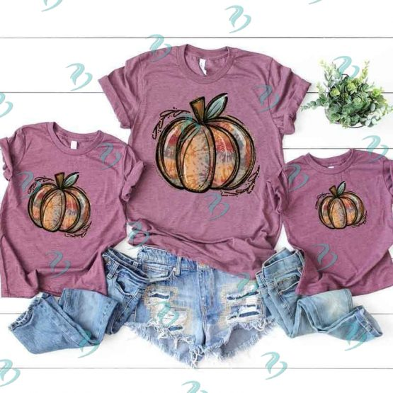 Tie Dye Pumpkin Graphic Shirt Purple