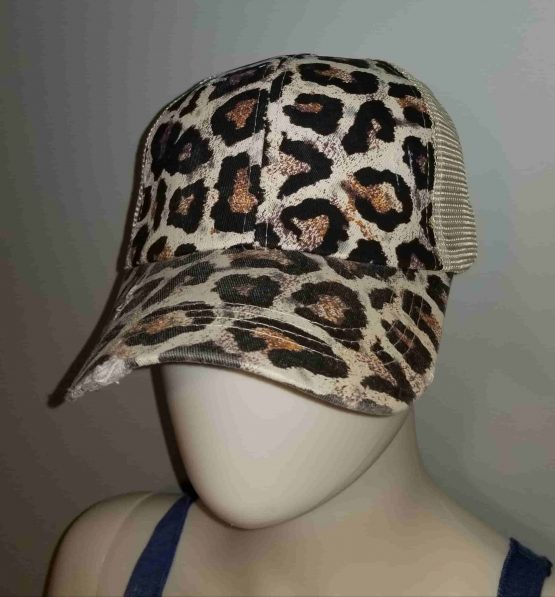 Leopard Ponytail Hat Display Side View