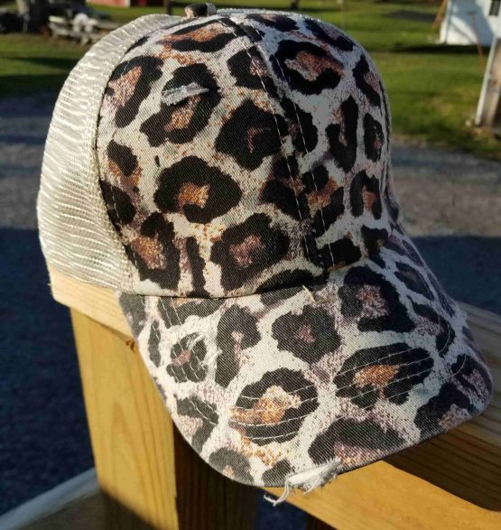 Leopard Ponytail Hat Side View