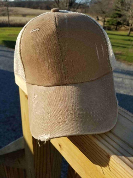 Tan Ponytail Hat