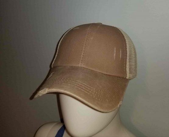 Tan Ponytail Hat Display Side View