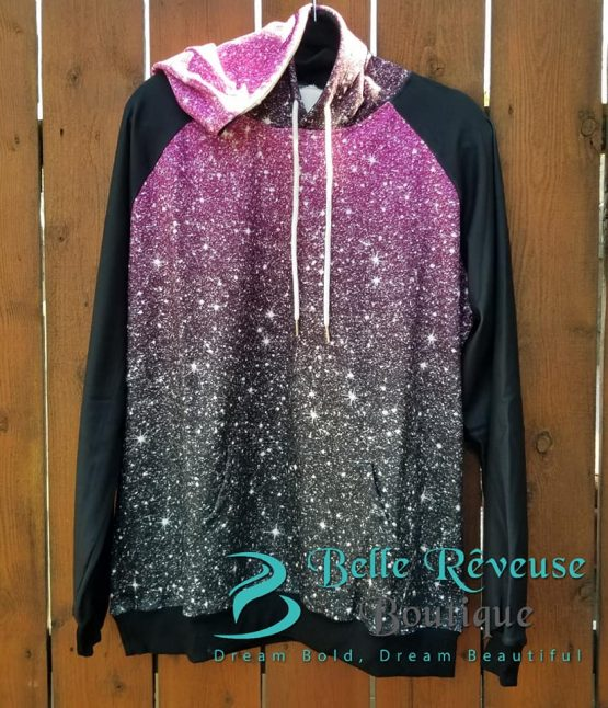 Pink Ombre Glitter Hoodie